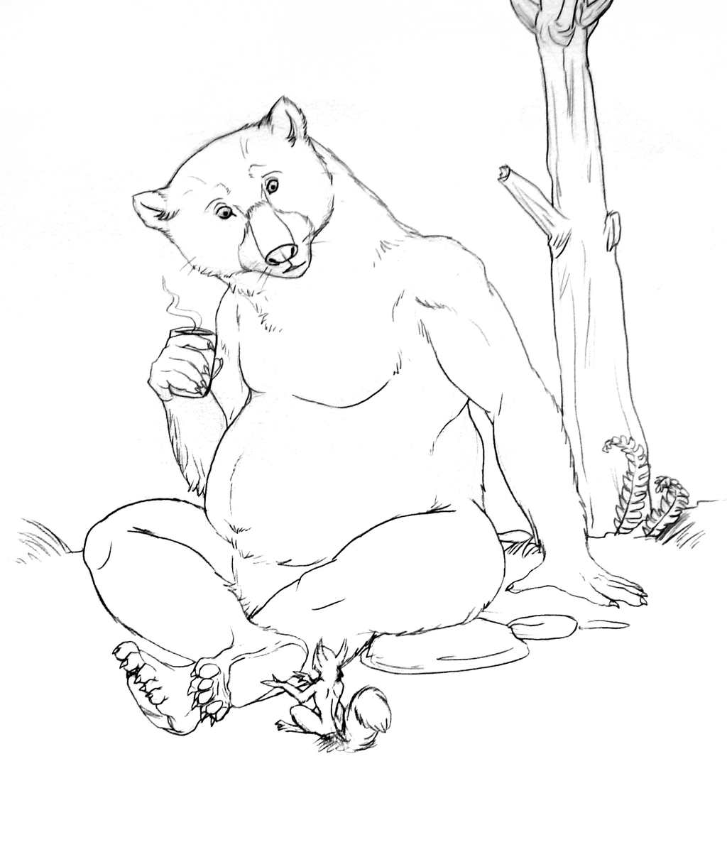 Great Bear and Red Squirrel (sketch)