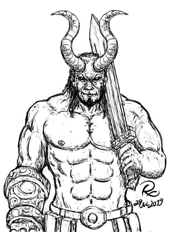 Hellboy and the Excalibur Sketch