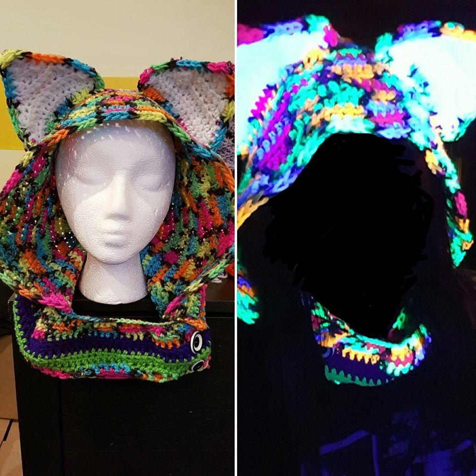Crochet blacklight reactive fox hood