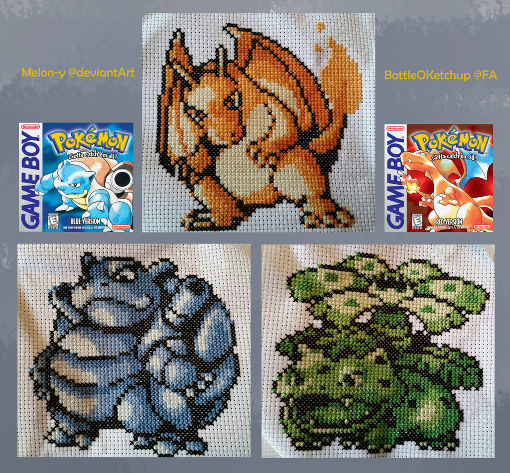 Kanto Starters Cross-stitch