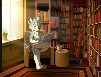 Riley in the library