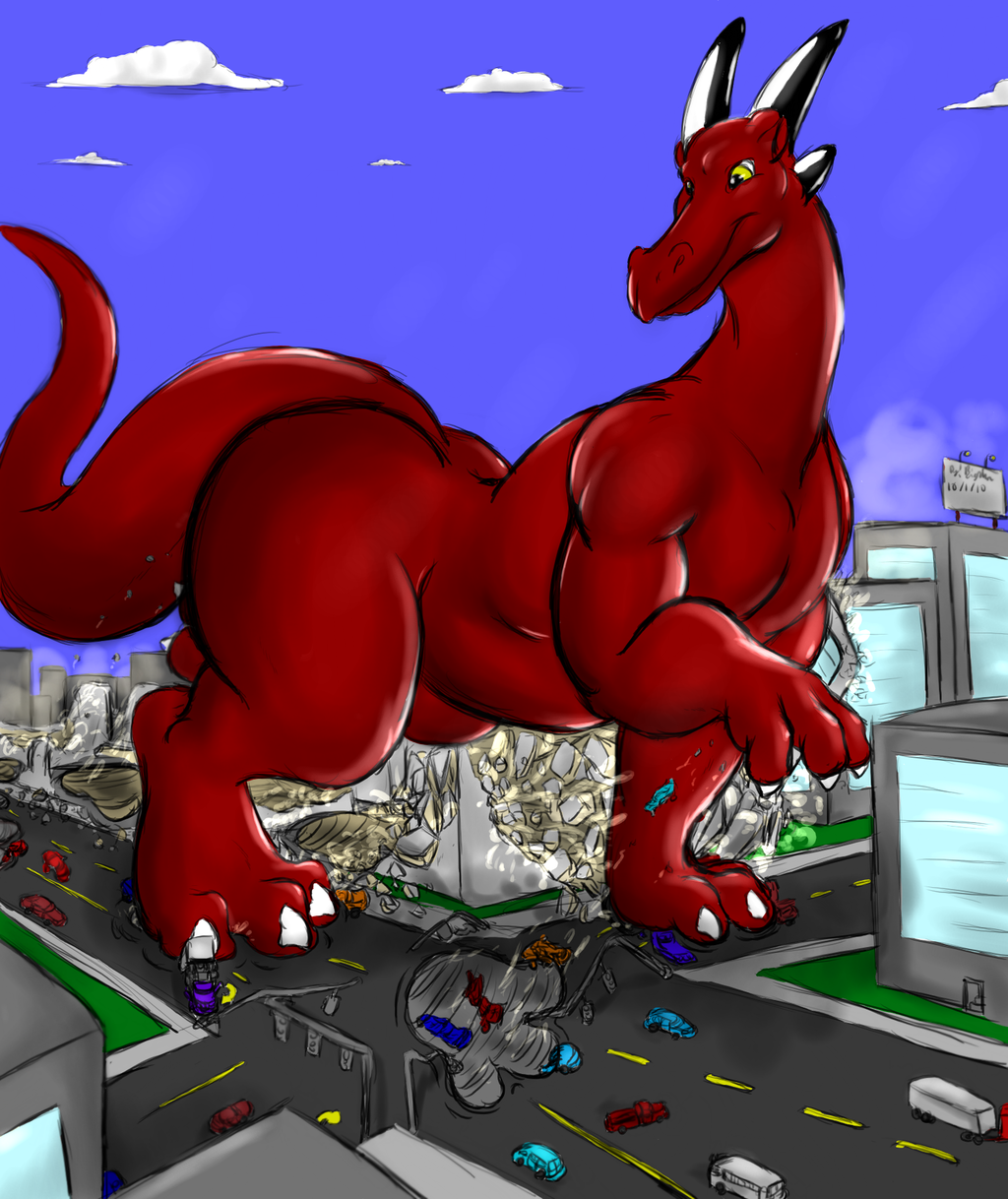 Featured image: Rex walking through town colored