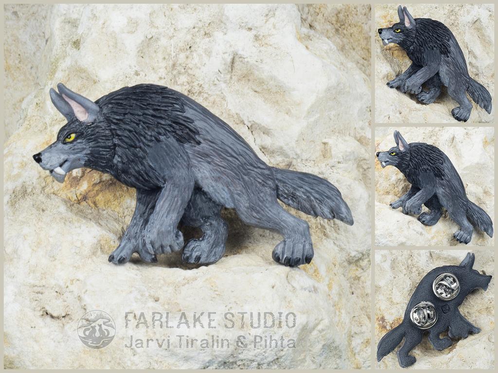Stalking gray werewolf full-body pin - for sale