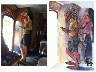 Aku in RV - photo vs painting