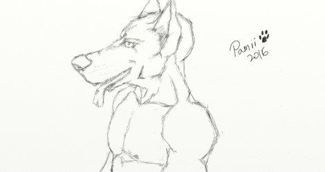 I sketched a dog man!
