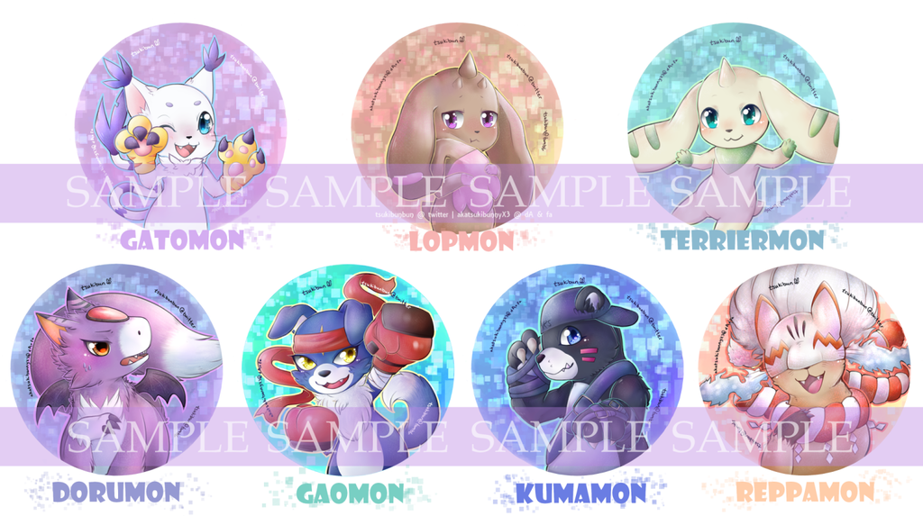 [M] Digimon Buttons Set1