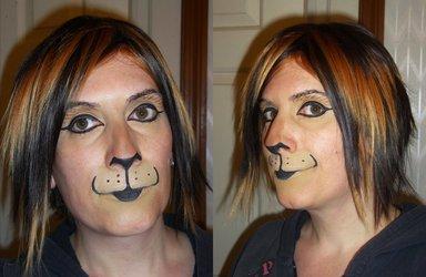 Subtle cat makeup practice with cosplay wig 4/12/2012