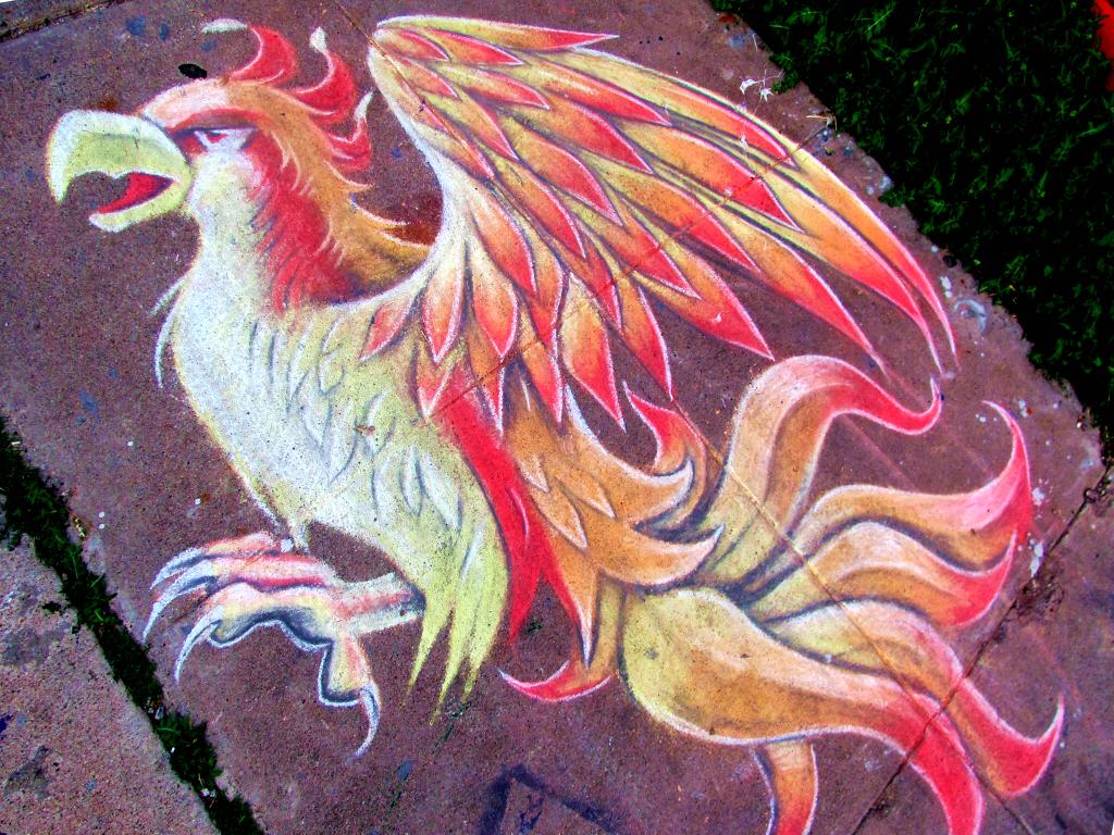 Chalk Mural of a Phoenix