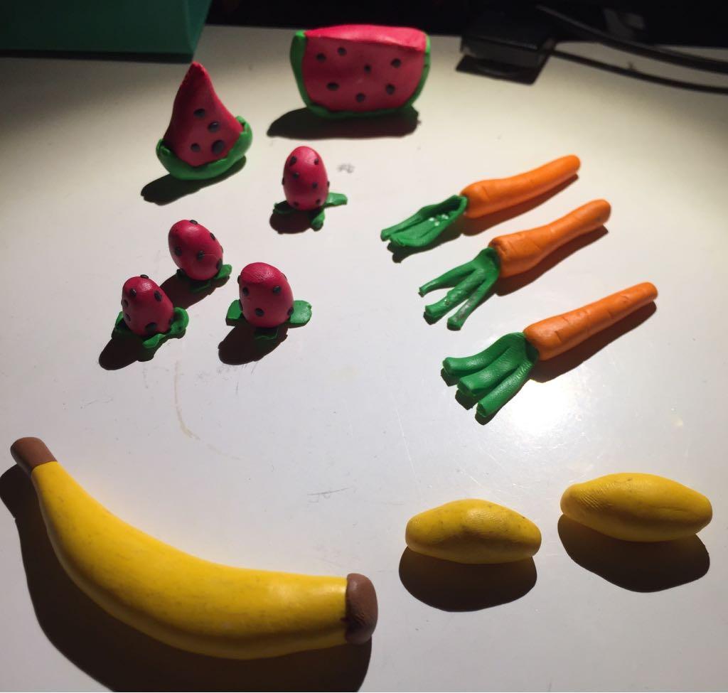 Clay fruit and veggies.