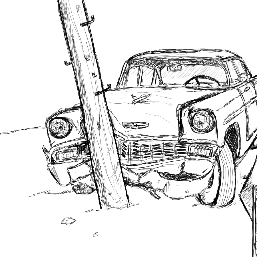 1955 Chevy Crash Sketch — Weasyl