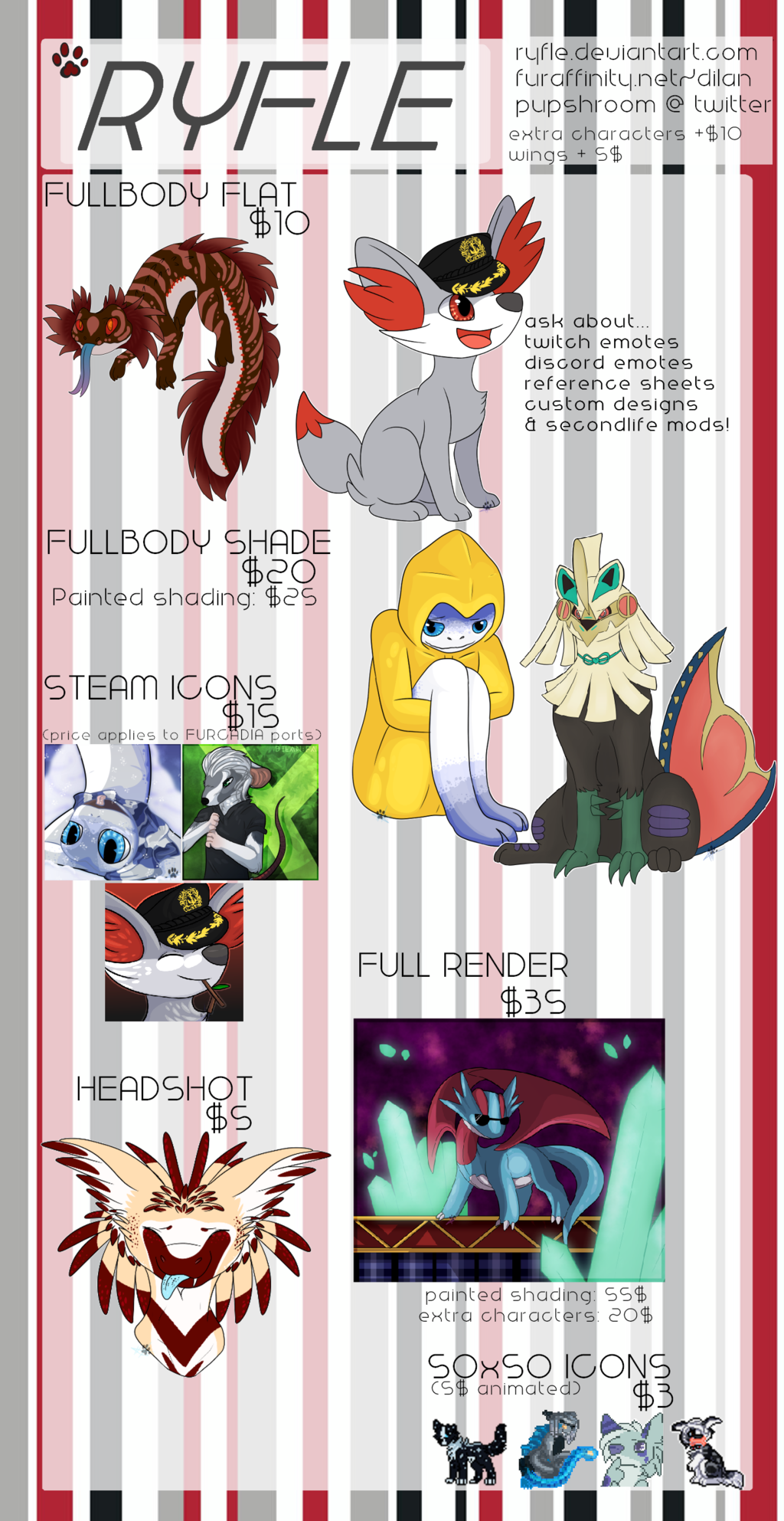 2018 Commission Price Sheet