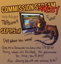 Sept 5. Commission Sale!