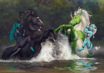[Collab with AriesRedLo] Horse swimming!