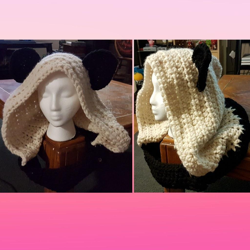Crochet panda hood