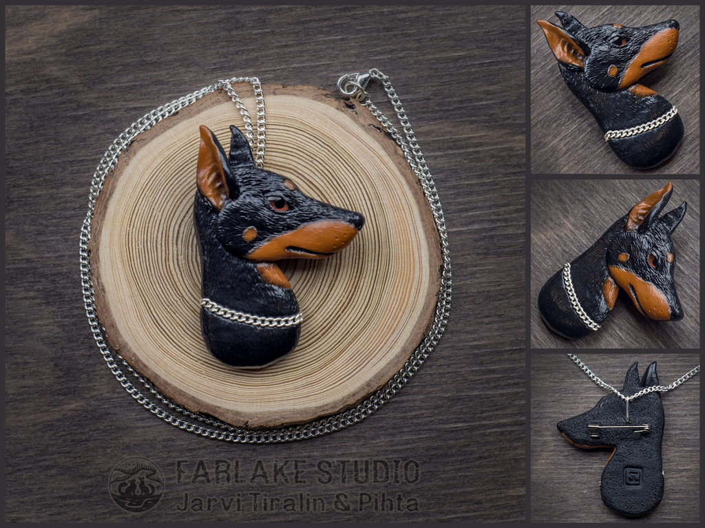 Doberman portrait badge - for sale