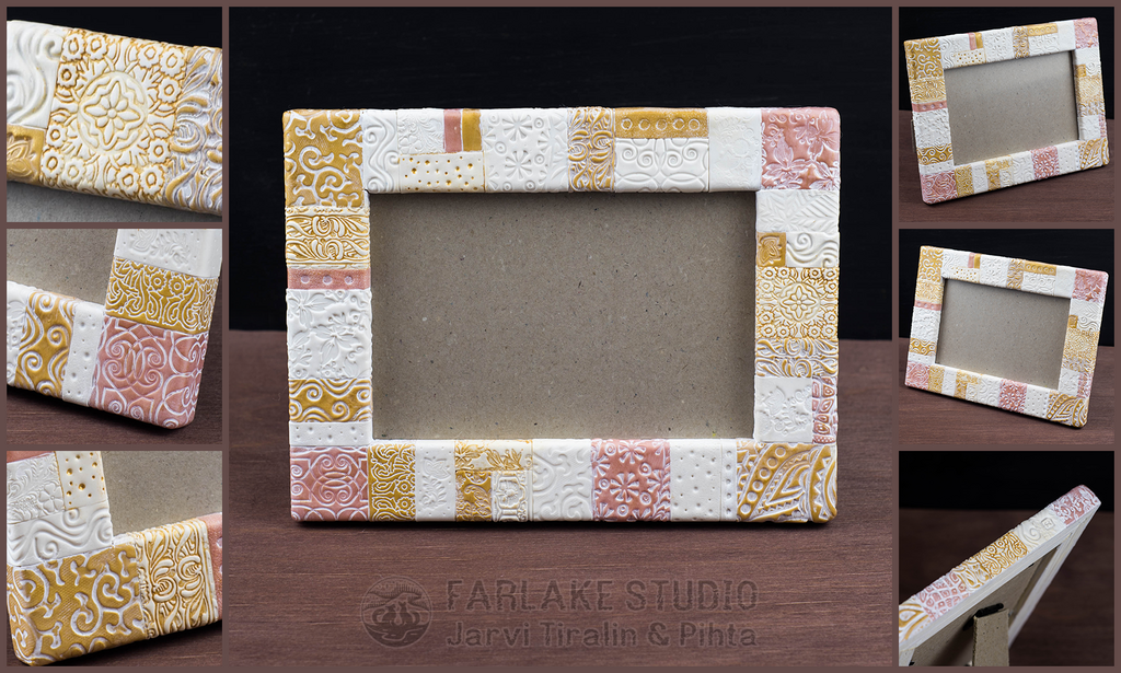 White and pink gold photo frame