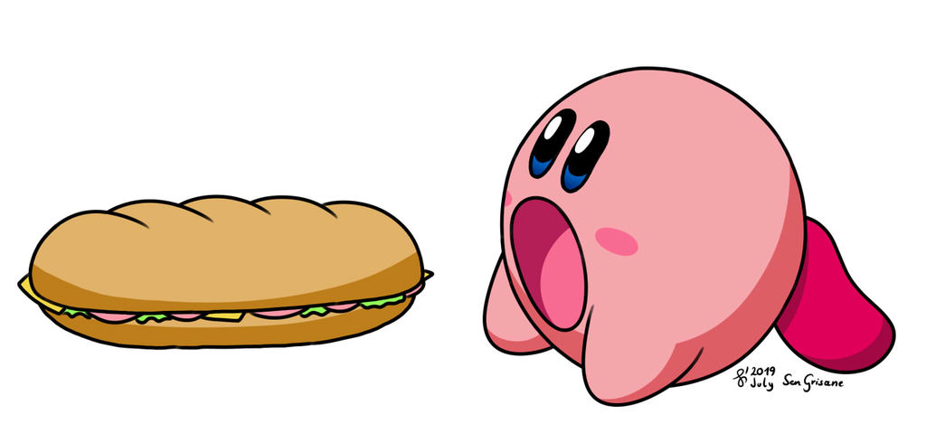 Kirby eating a big sandwich