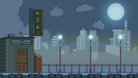 Pixel Art City Background