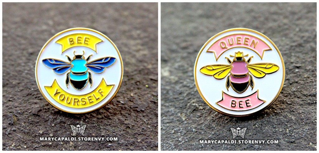 """Bee Yourself"" and ""Queen Bee"" Enamel Pins are HERE!"