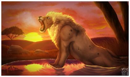 The Lion Roaring His Last