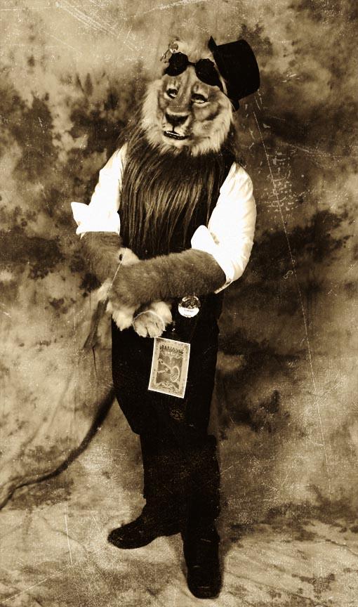 Steam lion antique portrait