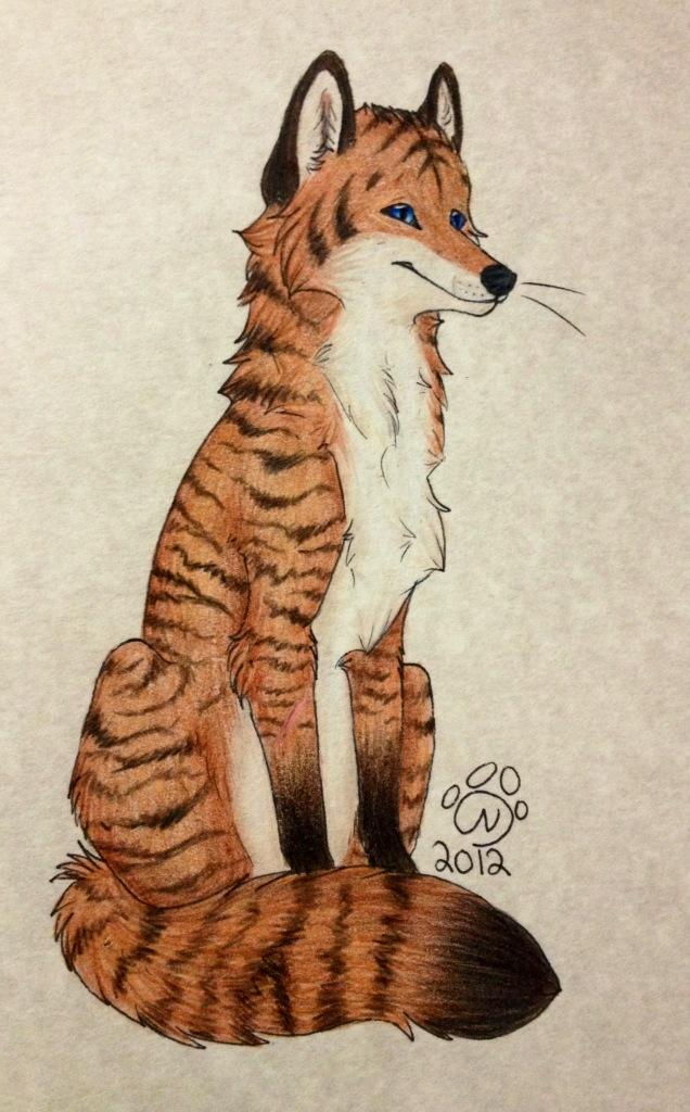 Tiger striped foxxie! - Art by RainbowFoxy