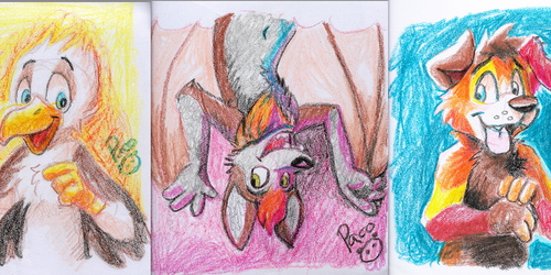 Drawing with Crayons in Fursuit
