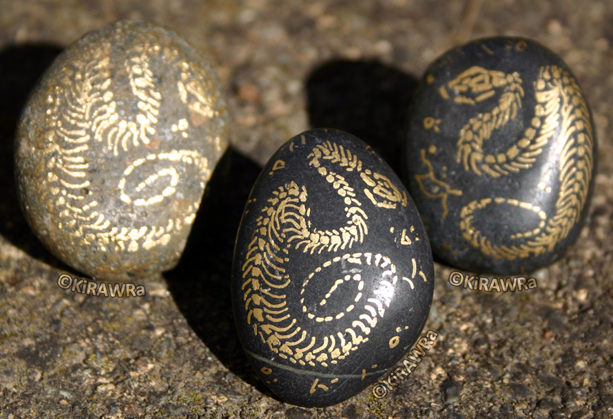 Painted Fossil Rock Magnets - Snakes
