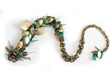 Green, Gold, Bronze Spiked Dragon - 24 Inch