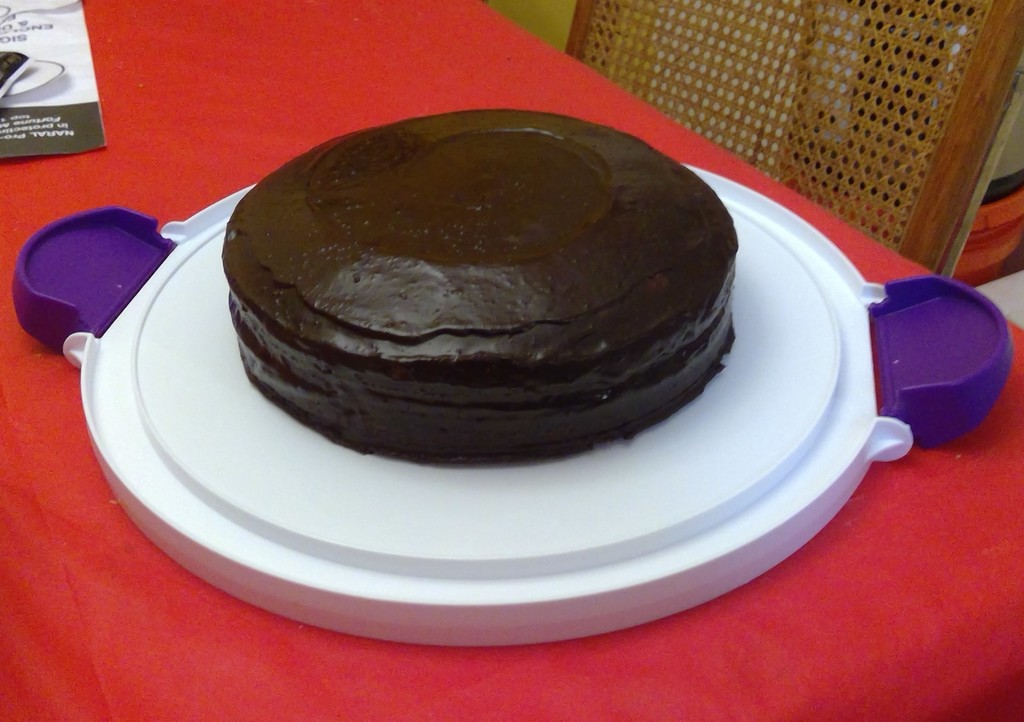 Most recent image: White cake, chocolate genache frosting!