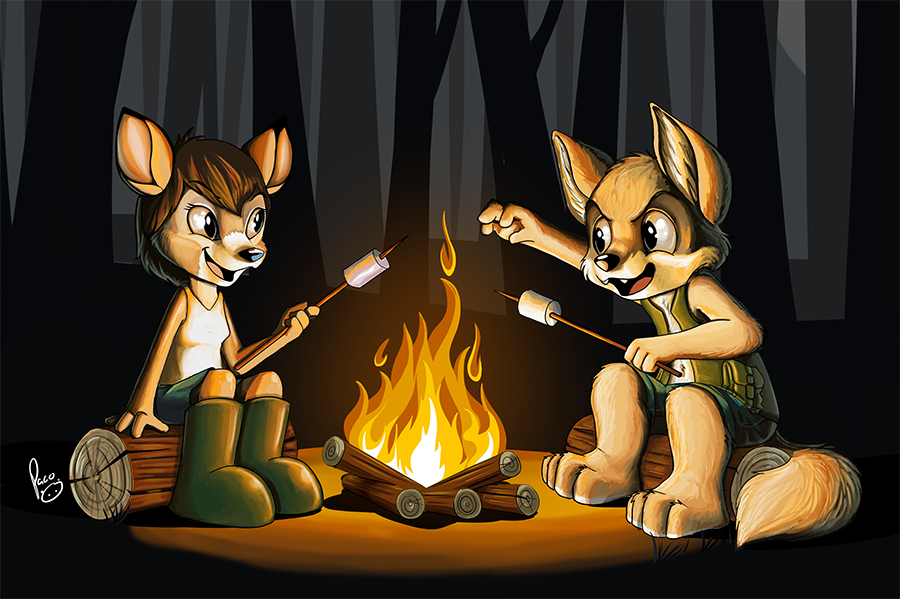 horror stories at the campfire