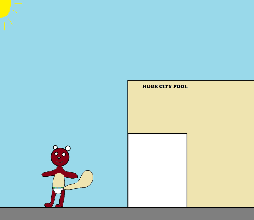 Steven squirrel leaves Huge city pool