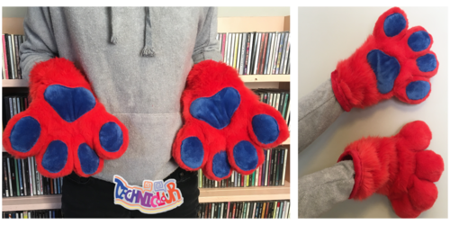 Red and Blue Fursuit Handpaws