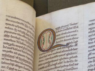 Medieval Manuscript- Illuminated Q