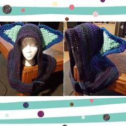 Multicoloured crochet hood with large ears
