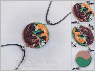 Commission - yin yang pendants - Dmitri & Sir Chibi