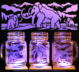 Etched Glass - Mammoths