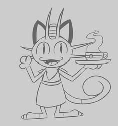 Quickie Café Meowth Sketch
