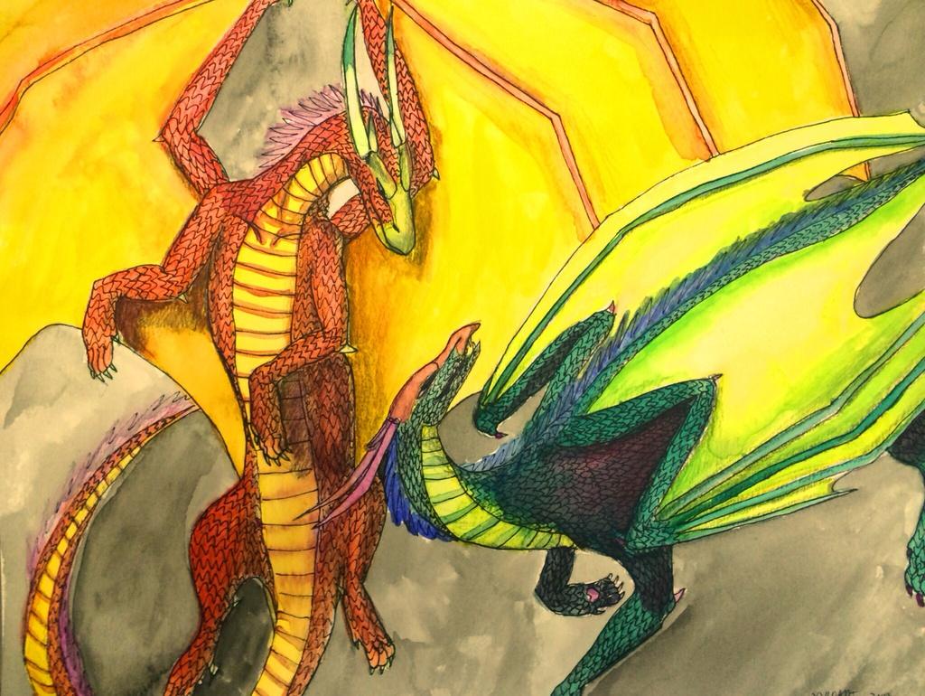 WIP Dragons preliminary watercolor