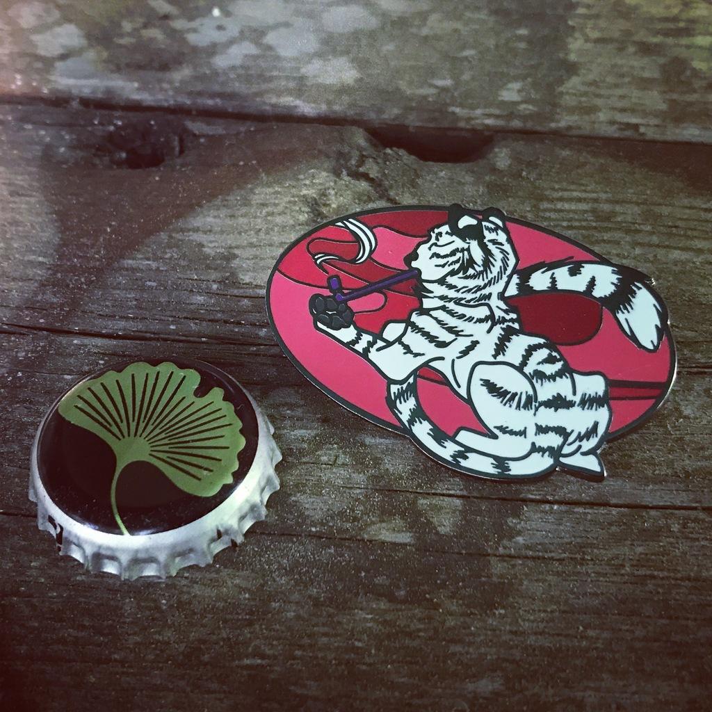 Smoking Tiger Enamel Pin