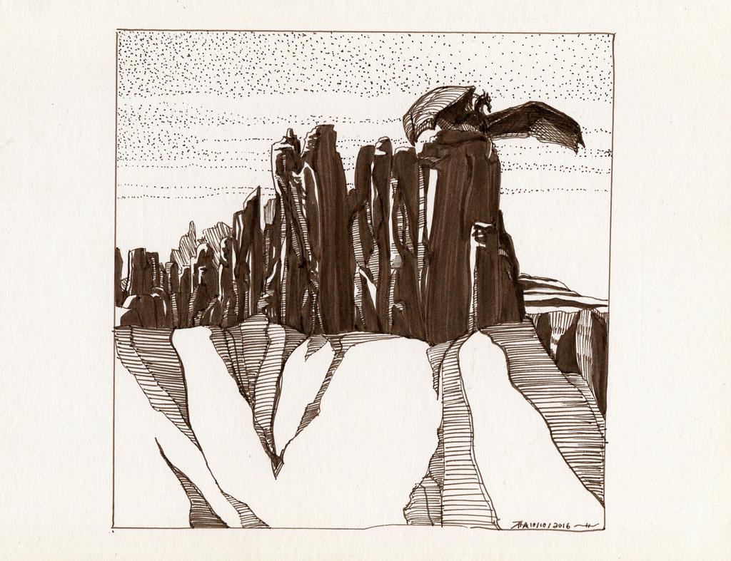 Inktober #9: Badlands Perch