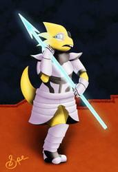 Alphys Wearing Undyne's Armor