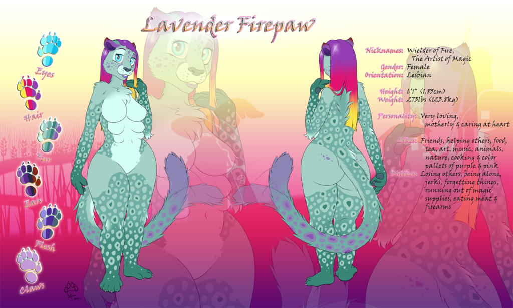 [Commission] Refsheet - Lavender Firepaw (Clean version)