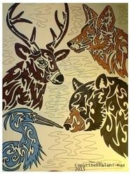 Tribal Stag, Coyote, Heron, Blackbear
