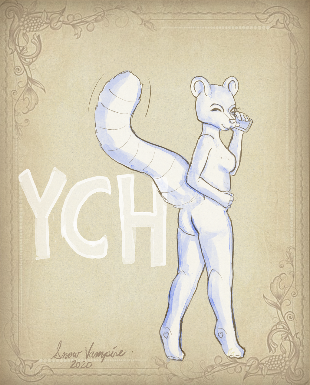 Most recent image: YCH on her phone (watercolor Paper)