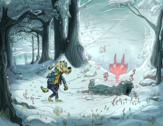Haunted Log Snowscape
