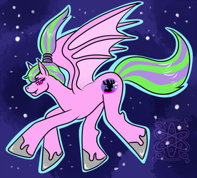 Batpony Moonlight Bunny +flatcolored Commission+