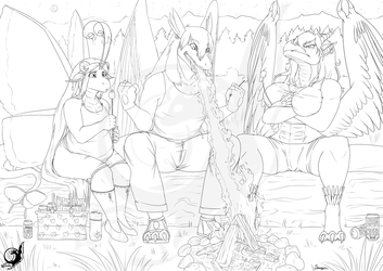 Campfire Lineart - Commission for Shi'ran