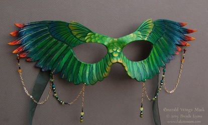 Emerald Wings Leather Mask