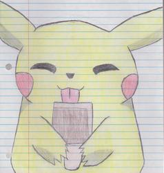Pikachu eating a popsicle